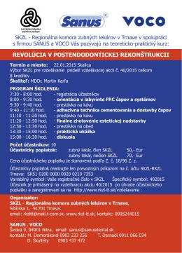 Pozvánka na kurz 22.01.2015 - Regionálna komora zubných