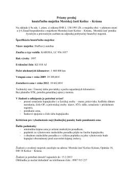 Priamy predaj hnuteľného majetku Mestskej časti Košice