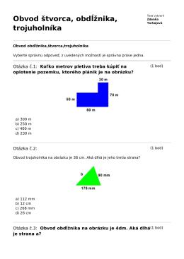 Obvod štvorca, obdĺžnika, trojuholníka