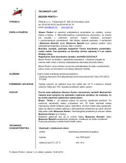 TECHNICKÝ LIST BIOZOR PENTO + - PAM