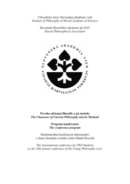 Conference program - Slovenské filozofické združenie pri SAV