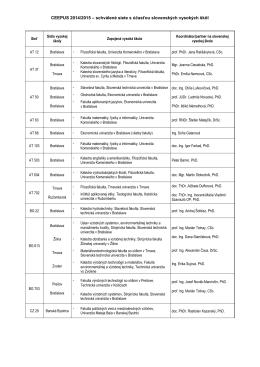 Zoznam schválených sietí na akad. rok 2014/2015