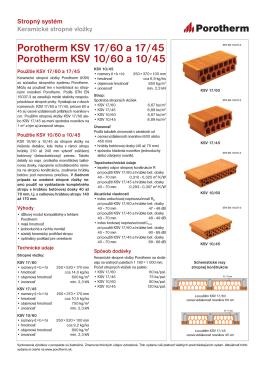 Technický list Porotherm KSV 17/60, KSV 10/60