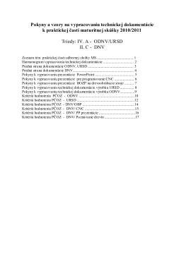 Pokyny k vypracovaniu dokumentácie PČ MS