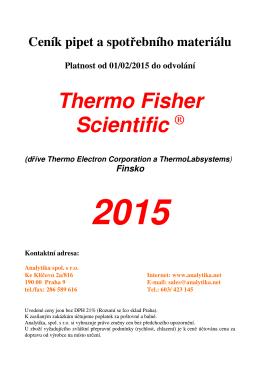 Ceník produktů firmy Thermo Fisher Scientific