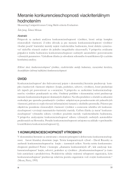 Meranie konkurencieschopnosti viackriteriálnym hodnotením