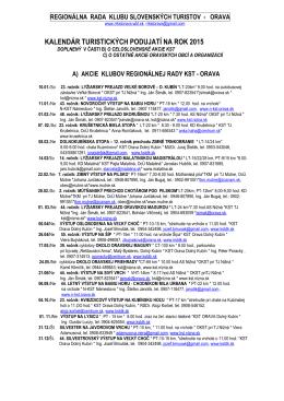 Kalendár podujatí RR KST Orava na rok 2015