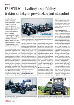 FARMTRAC – kvalitný a spoľahlivý traktor s nízkymi