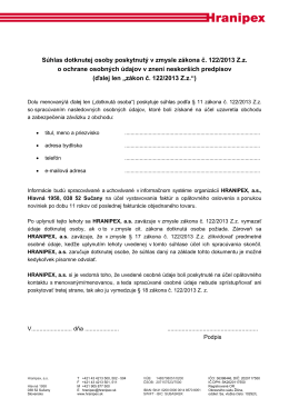 Súhlas dotknutej osoby poskytnutý v zmysle zákona č