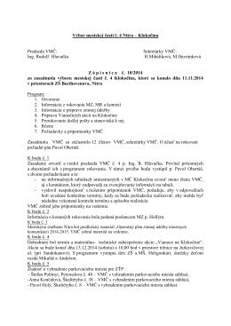 Zápisnica zo zasadnutia VMČ 4 zo dňa 11.11.2014