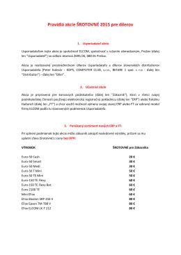 Pravidlá akcie ŠROTOVNÉ 2015 pre dílerov