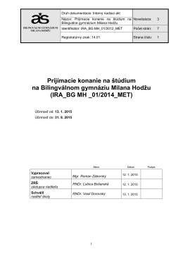 IRA_BG MH _01/2014_MET - Bilingválne gymnázium Milana Hodžu