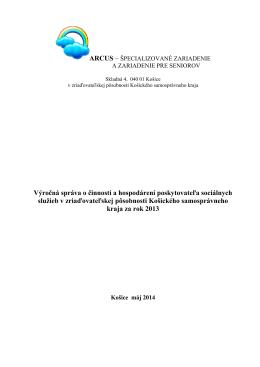 Výročná správa o činnosti a hospodárení poskytovateľa
