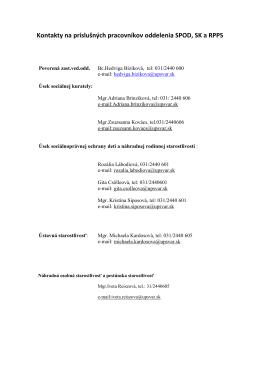 Kontakty na príslušných pracovníkov oddelenia SPOD
