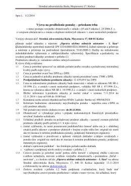 Výzva na predloženie ponuky - Stredná zdravotnícka škola