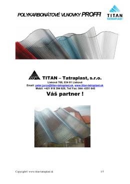 Polykarbonátové vlnovky PROFFI - Titan