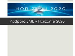 Podpora SME v Horizonte 2020
