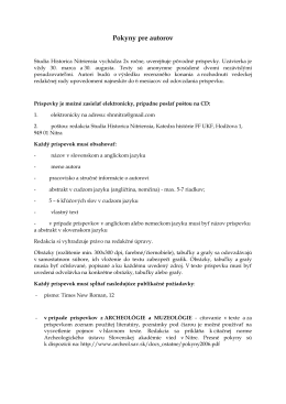 Pokyny pre autorov - Katedra histórie FF UKF v Nitre