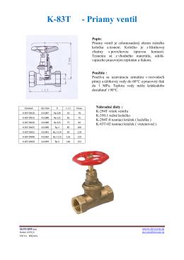 K-83T - Priamy ventil