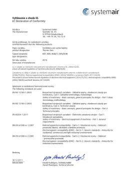 Vyhlásenie o zhode ES EC Declaration of Conformity