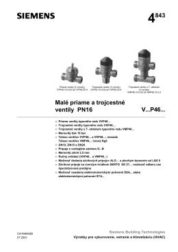 4843 Malé priame a trojcestné ventily PN16 V...P46