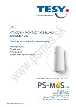 Návod na použitie TESY ohrievače vody_sk (PDF) - PS