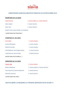 umiestnenie našich klubových tenistov na letných mbr 2014