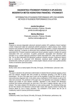 diagnostika výkonnosti podnikov s aplikáciou moderných