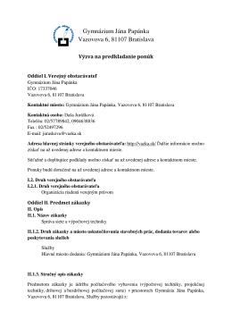 Gymnázium Jána Papánka Vazovova 6, 81107 Bratislava