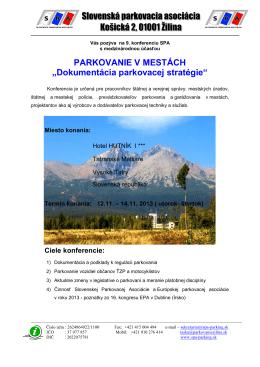 Záväzná prihláška na 1 - Česká parkovací asociace