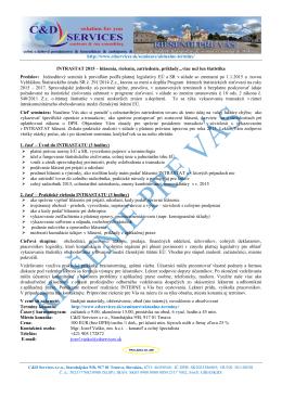 INTRASTAT 2015 - hlásenia, riešenia, zatriedenie