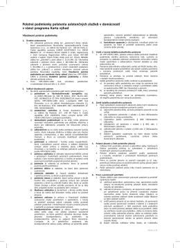 Poistné podmienky poistenia asistenčných služieb v