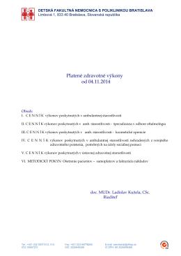 Platené zdravotné výkony od 04.11.2014