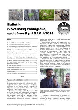 2014/1 - Slovenská zoologická spoločnosť pri SAV