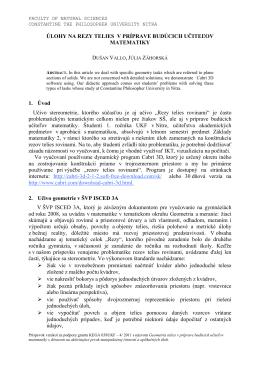 Full paper - Geometria telies v príprave budúcich učiteľov