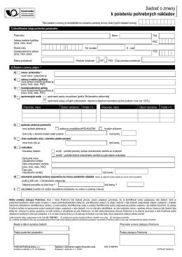 Ziadost_o zmeny_PPN_130516 - Poisťovňa Poštovej banky, as