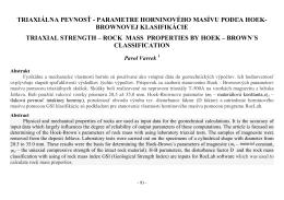 triaxiálna pevnos - parametre horninového masívu pod a hoek