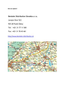 Benteler Distribution Slovakia s.r.o. Jurajov Dvor 523 925 28 Pusté