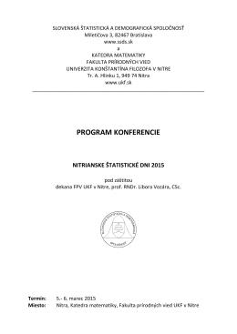 PROGRAM KONFERENCIE - nitrianske štatistické dni