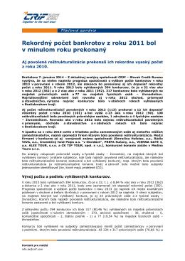 Tlacova sprava_CRIF_Konkurzy a restrukturalizacie 2013