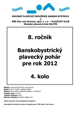 4. kolo Žiar nad Hronom - Plavecký klub MŠK Žiar nad Hronom