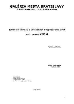 Výročná správa o činnosti a... - Galéria mesta Bratislavy