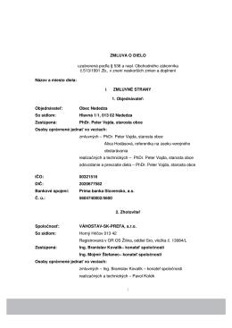 Zmluva o dielo_Vahostav SK_Prefa_09.05.2014