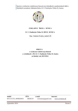 Správa o výchovno-vzdelávacej činnosti školy 2013,14