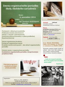 Zmena organizačného poriadku školy, školského zariadenia