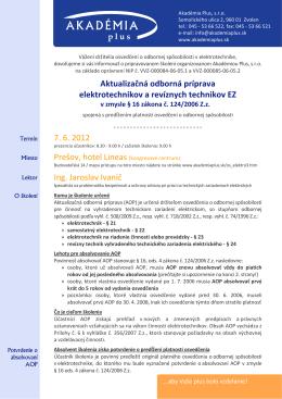 Aktualizačná odborná príprava elektrotechnikov a revíznych
