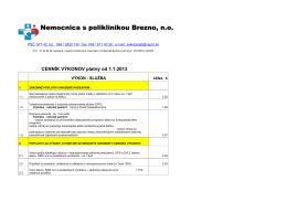 Cenník výkonov 2013 - w w w . n s p b r . s k