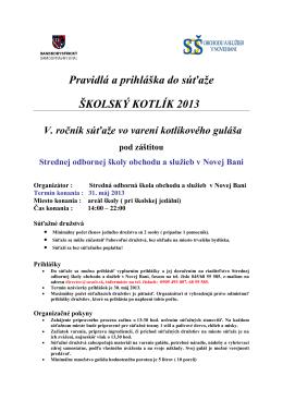Pravidlá a prihláška do súťaže - Stredná odborná škola obchodu a