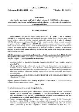 OBEC ĽUBOTICE Číslo spisu: BS/4061/2014 – Mk V Prešove 28. 04
