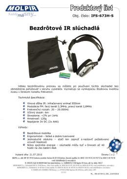 Bezdrôtové IR slúchadlá